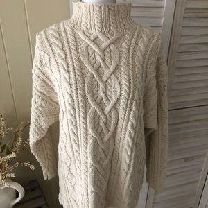 Moda International Cable Knit Sweater Ivory Sz S